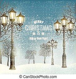 tarde, vendimia, lampposts., vector., navidad, paisaje