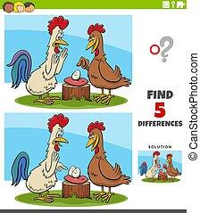 tarea, diferencias, educativo, niños, gallo, gallina