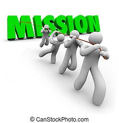 tarea, meta, misión, juntos, tirar, equipo, objetivo, lograr