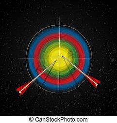 target., coloreado, negro, blanco, fondo., marketing., tiro al arco, targetting, o, centro