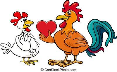 tarjeta, amor, valentine, gallina, gallo