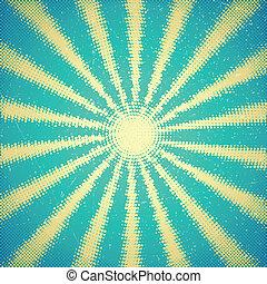 Tarjeta antigua con rayos de sol a medias