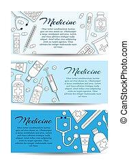 tarjeta, asistencia médica, concepto, banners., vector, medicina, diseño determinado, tres
