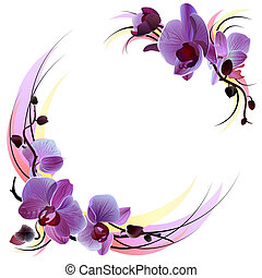 Tarjeta blanca con orquídeas violetas