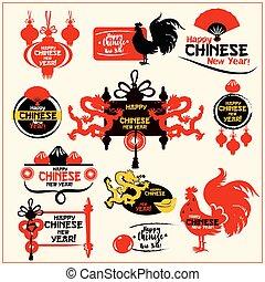 Tarjeta china de Año Nuevo, etiqueta y sellos