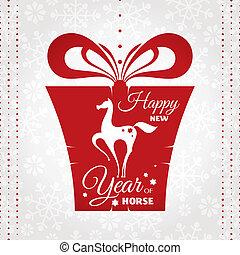 Tarjeta de año nuevo con regalo