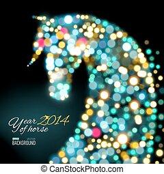 Tarjeta de año nuevo con un caballo de luces.