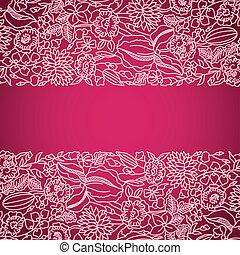 Tarjeta de adorno rosa con encaje