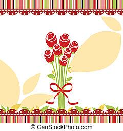 Tarjeta de amor de primavera con rosas rojas