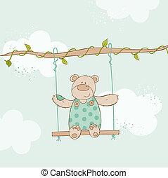 Tarjeta de baby shower - con oso bebé - en vector