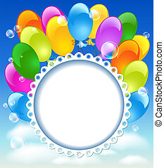 Tarjeta de bienvenida con globos