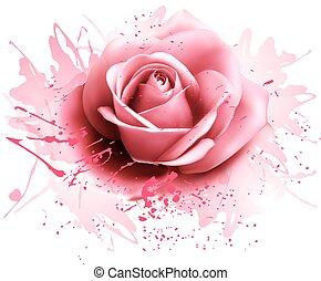 Tarjeta de bienvenida con rosa rosa. Vector
