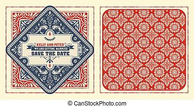 Tarjeta de boda antigua, ambos lados