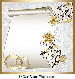 Tarjeta de boda con un patrón floral