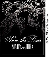 Tarjeta de boda o invitación con antecedentes florales antiguos. Ilustración de vectores