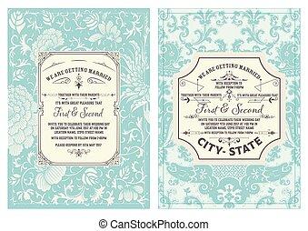 Tarjeta de boda Retro. Vecror en capas
