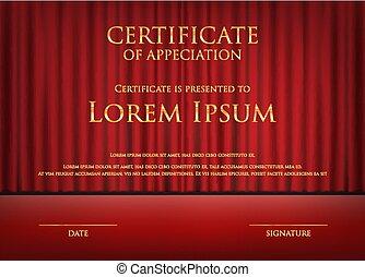 Tarjeta de certificado con plantilla de fondo de cortina roja