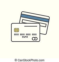 Tarjeta de crédito. Un icono de una sola línea en fondo blanco. Ilustración de vectores.