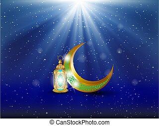 Tarjeta de cubierta de Eid Mubarak, vista nocturna de la mezquita Drawn desde Arch. Fondo de diseño árabe. Tarjeta de felicitación escrita a mano. Ilustración de vectores
