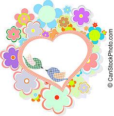 Tarjeta de cumpleaños con lindas aves con flores y corazón