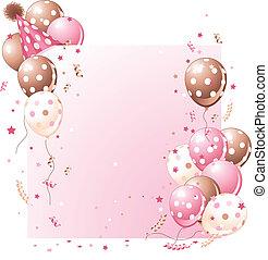 tarjeta de cumpleaños, rosa