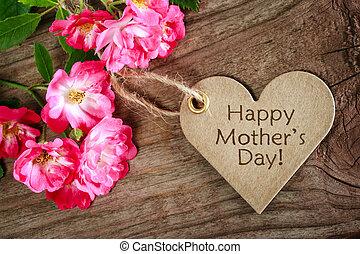 Tarjeta de día de madres con forma de corazón