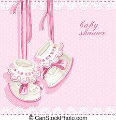 Tarjeta de ducha de bebé con botas rosas