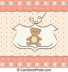 Tarjeta de ducha de bebé con osito de peluche