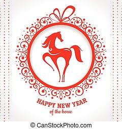 Tarjeta de felicitación de año nuevo con caballo