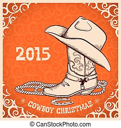 Tarjeta de felicitación de Año Nuevo Occidental con objetos de vaquero
