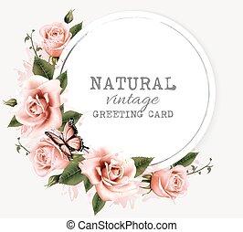 Tarjeta de felicitación natural con flores de belleza y mariposa. Vector.