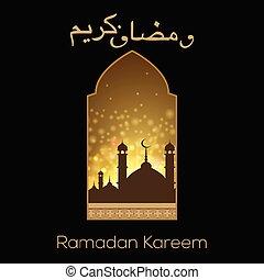 Tarjeta de felicitación Ramadan Kareem con vista de ventana a mezquita. Vector.