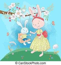 Tarjeta de ilustración o fetiche para un cuarto de niños - lindos conejos mamá e hijo en un columpio con flores, ilustración vectorial en estilo dibujos animados