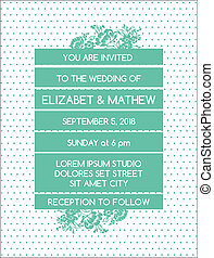 Tarjeta de invitación a la boda - tema floral antiguo - en vector
