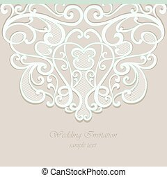 Tarjeta de invitación adornada con adornos de damasco