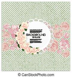 Tarjeta de invitación con lugar para texto y flores rosas sobre el fondo de puntos verdes, ilustración vectorial