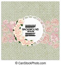Tarjeta de invitación con lugar para texto y flores rosas sobre fondo de puntos verdes, textura de lienzo. Ilustración de vectores