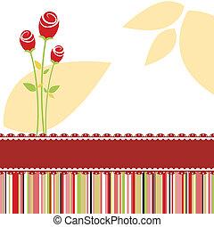 Tarjeta de invitación con rosa roja