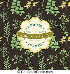 Tarjeta de invitación de boda, floral y hierba, en vector
