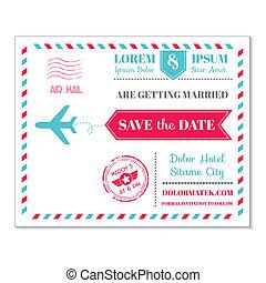Tarjeta de invitación de boda, temática de correo postal vintage, en vector