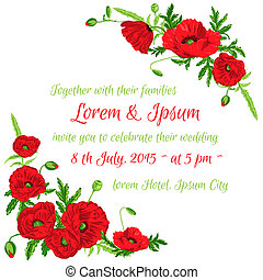 Tarjeta de invitación para la boda, tema floral de amapola en vector