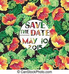 Tarjeta de invitación vintage con un patrón floral en vector