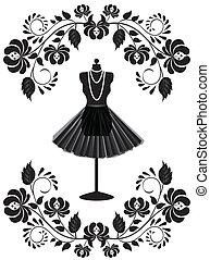 Tarjeta de moda con maniquí con collar y falda en marco floral