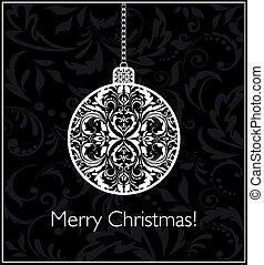 Tarjeta de Navidad blanca y negra con bola colgando