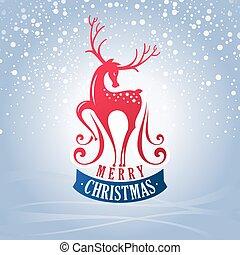 Tarjeta de Navidad con ciervos
