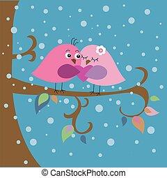 Tarjeta de Navidad con pájaros y copos de nieve