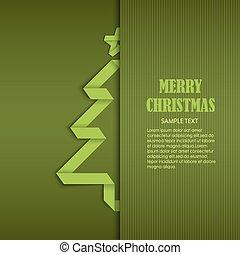 Tarjeta de Navidad con plantilla de papel doblado verde