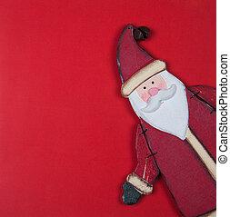 Tarjeta de Navidad en rojo con Santa