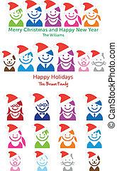 Tarjeta de Navidad familiar, iconos del vector