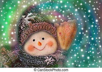 Tarjeta de Navidad, muñeco de nieve divertido